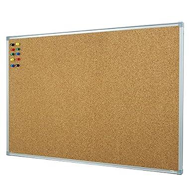 Lockways Cork Board Bulletin Board - Double sided Corkboard 36 X 24 Notice Board 3 X 2 - Silver Aluminium Frame U12118762609 For School, Home & Office (SET Including 10 Push Pins) (24 x 36, Silver)