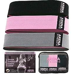 Arena Strength Fabric Booty Bands – Stoff-Übungsbänder für Beine und Hintern | Stoff-Widerstandsbänder | Hüft-Widerstandsbänder Set von 3 mit Workout-Guide und Tragetasche