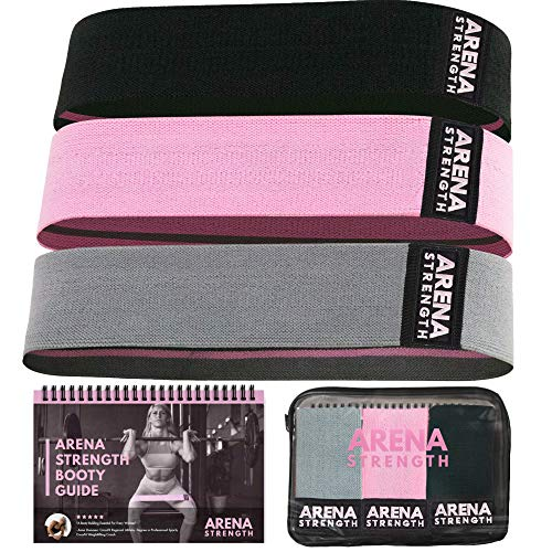 Arena Strength Fabric Booty Bands - Fabric Exercise Bands for Legs and Butt | Fabric Resistance Bands | Hip Resistance Bands Set of 3 with Workout Guide and Carry Case