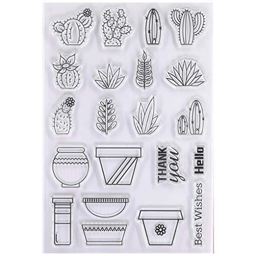 KWELLAM Best Wishes Hello Thank You Cactus Flower Pot Sellos transparentes para hacer tarjetas, decoración y álbumes de recortes