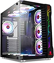 SZSKYING Gaming Case ATX Computer Game Case mid Tower 3.0 USB Tempered Glass Panel with 10PCS RGB Fans PC Control Remote