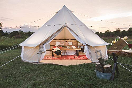 Dream House Outdoor Waterproof Cotton Canvas Family Camping Bell Tent (Beige Cotton Canvas Tent, Diameter 5 Meter)