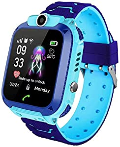 MUXAN Kids Smartwatch Smart Watch IP67 Waterproof,Touch Screen Mobile Smart Watches for Girls Boys, SOS Anti-Lost Sim Card Smartwatch with Camera, Game for Children Gift (Blue)