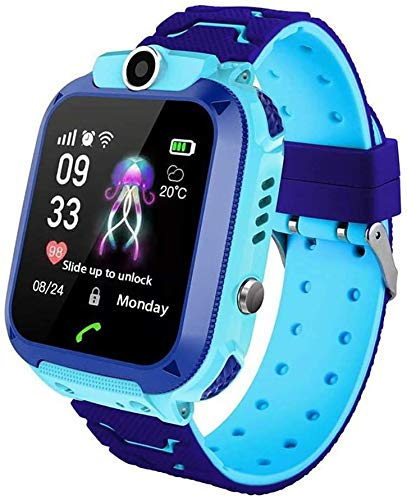 Hangang Montre Intelligente Enfants LBS Tracker Smartwatch Étanche IP67 Montre Connectée Enfant avec SOS Réveil Camera Jeux pour 3-12 Ans Garçon Fille Compatible avec iOS/Android (Bleu)
