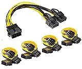 Anupow 5 Stück PCIe Splitter Grafikkarte Kabel, GPU 8-poliges PCIe auf Dual PCIe 8-poliges (6+2)...