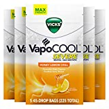 Vicks VapoCOOL Severe, Medicated Drops, Menthol Soothes Sore Throat Pain Caused by Cough, Honey Lemon Chill Flavor, 225 Drops (5 Packs of 45)