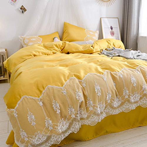Complete Bedding Sets,Washed silk four-piece summer bedding princess style summer cool ice silk sheets quilt cover silky naked sleep-Bright yellow_1.8m (6 feet) bed