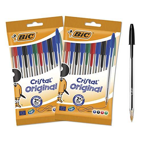BIC Cristal Original Penne a Sfera Punta Media (1.00 mm), Colori Assortiti, 2 Pacchi da 10 Penne, per Scrivere a Scuola e a Casa