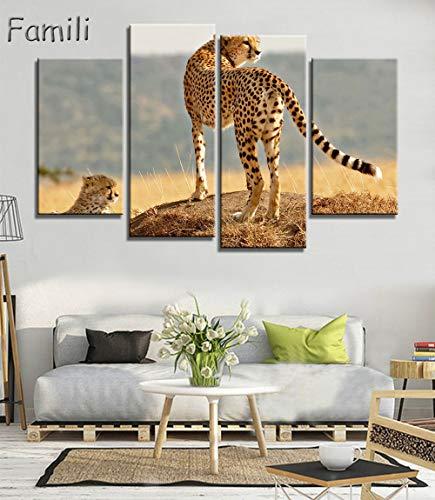 handaxian 4 Unidades Conjunto Pieza Grande Impreso Moderno Guepardo Pintura al óleo Africana Imagen Pinturas Decorativas Lienzo Arte de la Pared para la Vida-L
