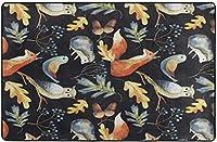 フクロウキツネの森の動物ヘッジホッグの葉ベリーどんぐりパターン超柔らかい屋内モダンエリアラグふわふわラグダイニングルームホームベッドルームカーペットフロアマットベビーキッズ犬猫80x58インチ-60x39インチ