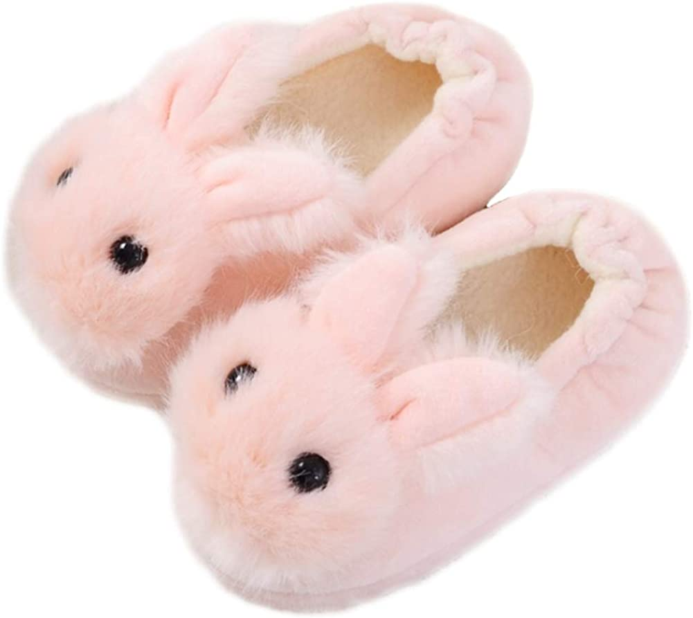 Toddler Boys Girls Fuzzy Slippers Kids Cute Cartoon Unicorn Dinosaur Bunny Shoes Non-Slip Animals Fluffy Plush House Slippers Fur Lined Warm Indoor Bedroom Shoes