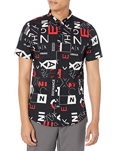 ARMANI EXCHANGE All Over Logo Print Short Sleeve Shirt Camicia, Black Red Crop Square, XXL Uomo