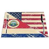 N / A Cocina Alfombrillas De Lugar,Aislante De Calor Manteles Individuales,Posavasos,Bandera De EE. UU. Y Costa Rica Alfombrillas De Comedor Retro Idea Placemats Set De 6