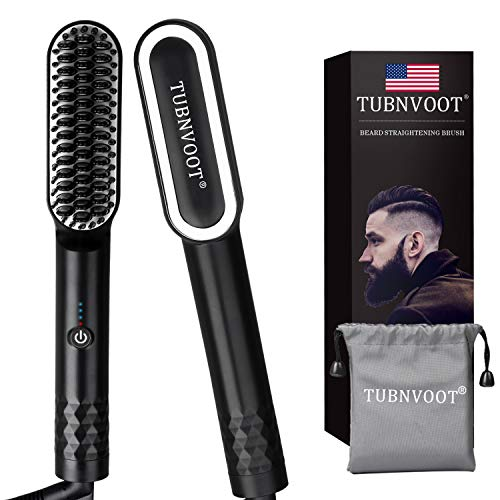 Beard Straightener for Men - Anti-Scald Beard Straightening Comb - Upgraded Portable Electric Heated Hair and Beard Brush with Dual Voltage & Carrying Bag for Home & Travel