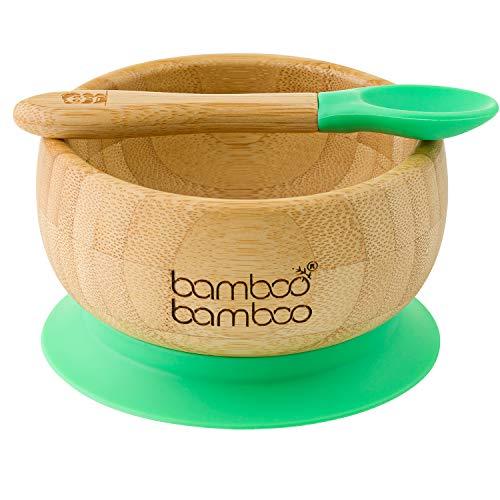 Baby zuignap-kom met bijpassende lepelset, stabiele zuig-voer-kom, van natuurlijk bamboe.