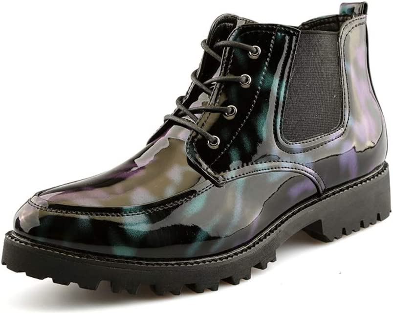 Battle Men Men's Fashion お求めやすく価格改定 Ankle Patchwor ☆国内最安値に挑戦☆ Personality Casual Boots