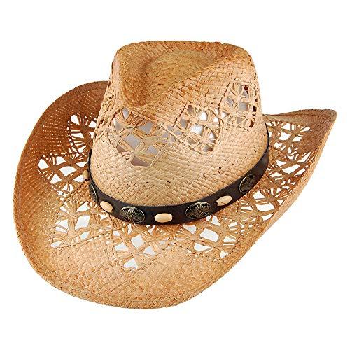 Chapeau de Cowboy en Raphia Annie Oakley sur LA Tete - Taille Unique