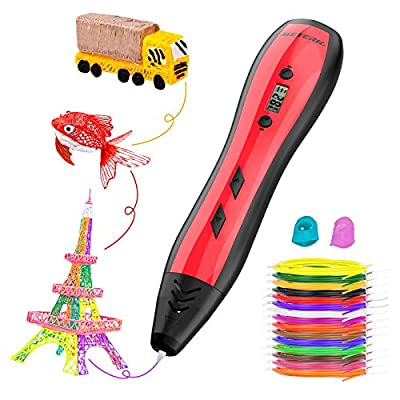 3D Pen, Meterk Intelligent 3D Printing Pen Compatible with PLA & ABS, LCD Display Adjustable Speed and Temperature with 15 Colors 1.75mm PLA Filament Perfect Arts Crafts Gift for Kids & Adults