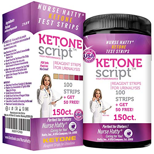 Nurse Hatty - Keto Strips 150ct. - New & Improved - U.S.A. Made - High Performance - Perfect for Ketogenic, Low Carb, Atkins & Paleo Diets - Urine Ketone Test (100ct. + 50 Free) from Hatty, Inc.