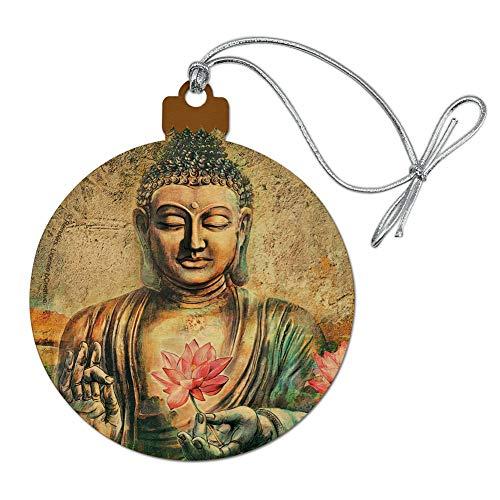 GRAPHICS & MORE Buddha Pink Lotus Flowers Serenity Wood Christmas Tree Holiday Ornament