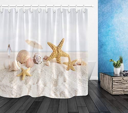 LB Duschvorhang Tropischer Strand 150x180cm Seestern und Muschel auf weißem Sand Bad Vorhang mit Haken Polyester Wasserdicht Antischimmel Badezimmer Vorhänge