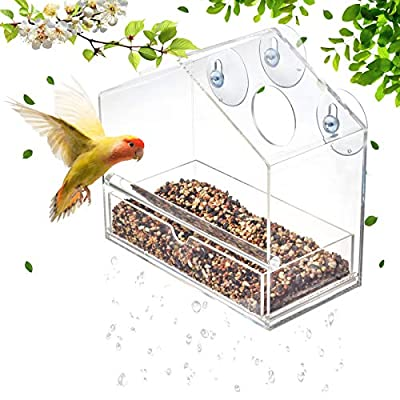 Display4top Outside Acrylic Balcony Window Bird Feeder with Drain Holes, Removable Tray, Super Strong Suction Cups,High Seed Capacity, Great Gift,Easy to Clean (20 x 18.5 x 10cm) from D4P