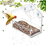 Display4top Outside Acrylic Balcony Window Bird Feeder with Drain Holes, Removable <span class='highlight'>Tray</span>, Super Strong Suction Cups,High Seed Capacity, Great <span class='highlight'>Gift</span>,Easy to Clean (20 x 18.5 x 10cm)
