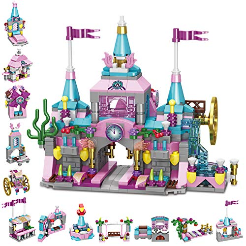 GARUNK Princess Castle Building Blocks Set for Girls, Combine All 12 Model Building Bricks in 25 Play Styles for a Complete Princess Castle Scene, STEM Educational Blocks Toys for Toddler 3+ Years Old