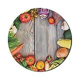 Food Mouse Pad für Computer, verschiedene Gemüse auf einem Holztisch Karotte Mais Gurke Kohl Landwirtschaft Thema, Runde rutschfeste dicke Gummi Modern Gaming Mousepad, 8 'rund, mehrfarbig