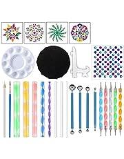 bobotron Set de 27 piezas de mandala Dotting Templates herramientas Set Caballete de colores Cuenco para pintar piedras FFrben dibujar y dibujar