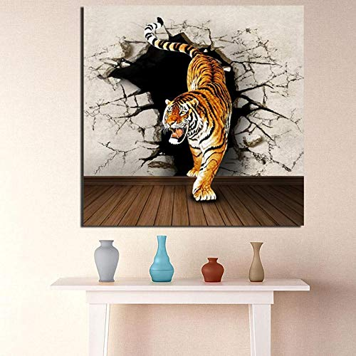 KWzEQ Export wall tiger animal printing oil painting canvas print living room home decoration modern oil painting,Frameless painting,40x40cm