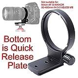 "iShootリング式三脚座, 77mm ニコン Nikon AF VR Zoom-NIKKOR 80-400mm f/4.5-5.6D ED Lens とNikon AF-S NIKKOR 300mm f/4D IF-ED #1909レンズのために特別に設計, CNC精密加工,ボトムは Arca Swissタイプのクイックリリースプレート, 1/4""ネジ穴付き"