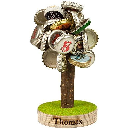Geschenke 24 Bierbaum mit Magneten und Gravur für Kronkorken - lustige Geschenke für Männer, Papa und Freund Väter