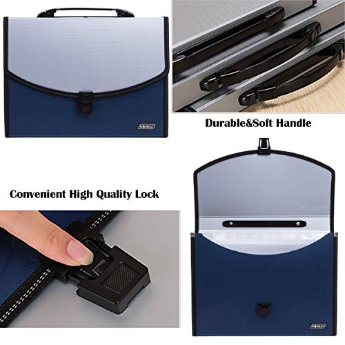 13 Pockets Expanding File Expandable Portable Expanding Accordion Folders Hand-Held Accordion File Document Folder File Organizer A4 and Letter Size(13 Pockets Expandable Portable Blue) Photo #6