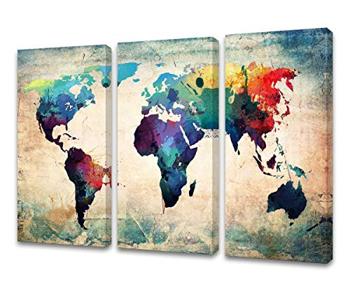 Baisuwallart W60148 3 Pieces Abstract World Map Canvas Painting Vintage Posters and Prints Colorful Wall Art Wall Pictures for Living Room Bedroom Home Decor Office Artwork