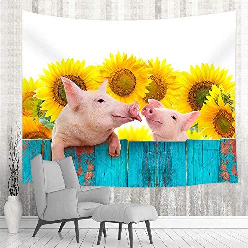 Tapiz rústico rústico para colgar en la pared, diseño de cerdo en turquesa con girasoles, decoración del hogar para dormitorio, sala de estar, dormitorio universitario, 60 x 40 pulgadas