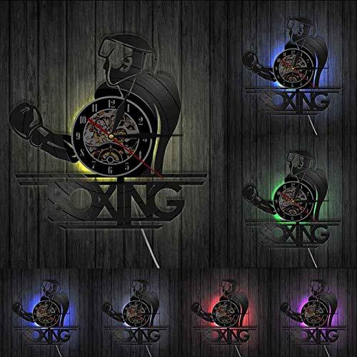 ZZLLL Boxeo decoración de la Sala de Deportes poderosos Deportes de Lucha diseño Moderno Reloj de Pared Disco de Vinilo Vintage Reloj de Pared Regalo del Boxeador - con LED
