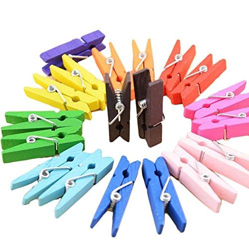 Preadvisor (TM) 50PCS colore misto mini in legno peg pin molletta Craft clip per vestiti carta fotografica 25mm 35mm 45mm D78, 45 mm