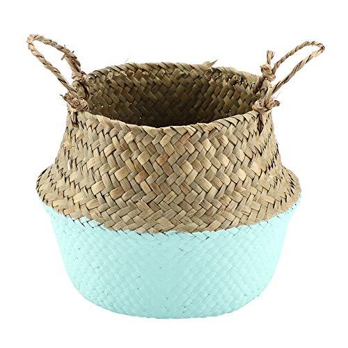 Maceta de almacenamiento plegable con asa, tejido de junco marino natural, para jardín
