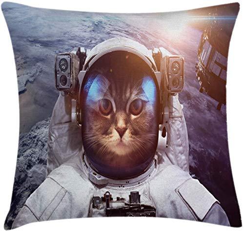 ce Funda de cojín para cojín de gato, Astrounaut Cosmonaut Cat en traje con imagen de Eclipse satelital ce, Funda de almohada decorativa cuadrada decorativa, Azul gris y blanco , (16 'x16' / 40x40cm)