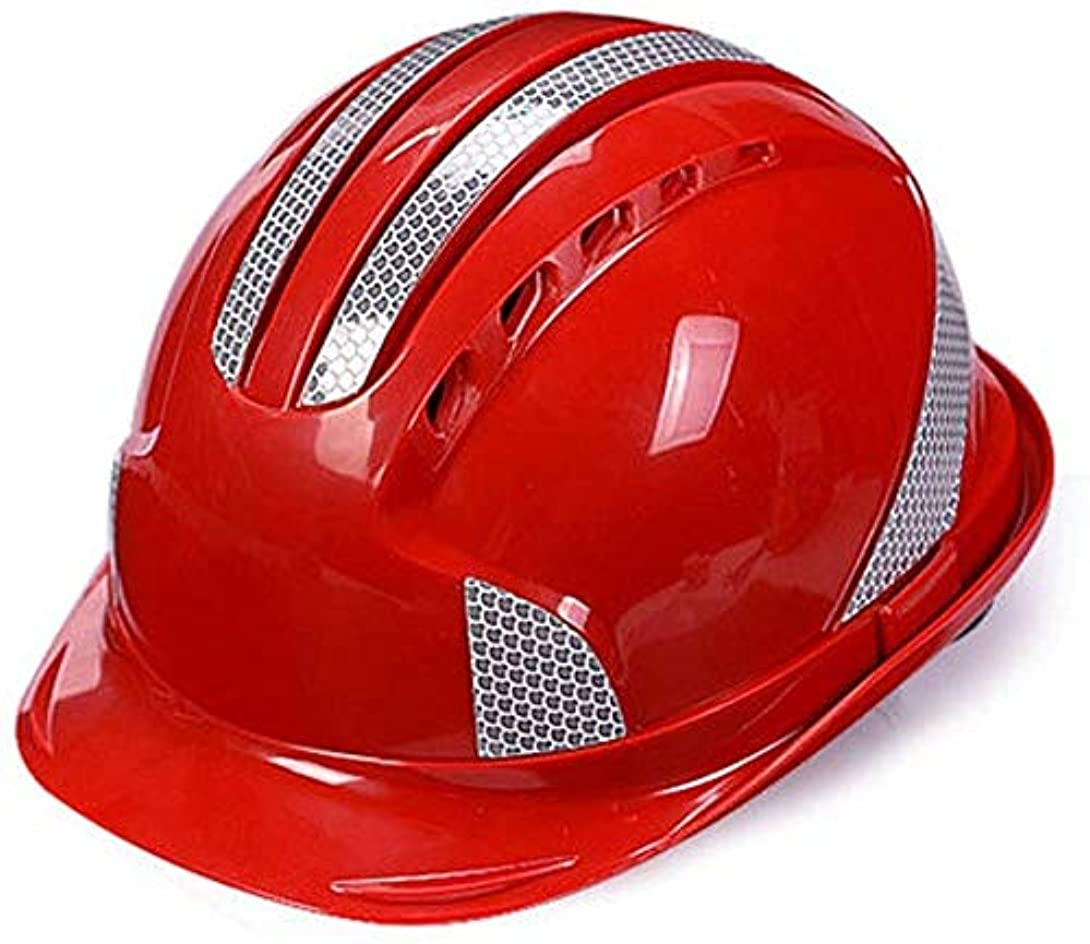 群衆虫を数える精巧なHLM- ヘルメット、工事現場/電力建設プロジェクトリーダー/男性と反射ストリップと女性の通気性のヘルメット(カラー:イエロー)、色名:オレンジ (Color : Red)