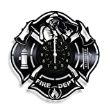 Fire Department Vinyl Record Wall Clock Home Decor Interior Design Gift for Firefighter