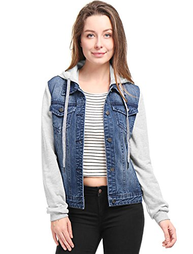 Womens Layered Hooded Denim Jacket Dark Blue
