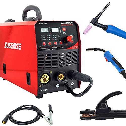 SUSEMSE Soldadora semiautomática MIG TIG de gas Airless IGBT Inverter 220V 4 en 1 Multifunción (MIG255-Red)