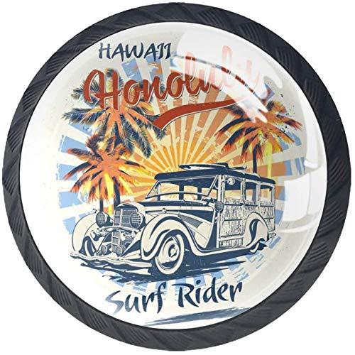 Sun Beach und Retro Woody Car 4 Stück Schubladenknöpfe Kommode Möbelknöpfe glas Moebelknauf Griff Garderobe Ziehgriffe Möbelgriff