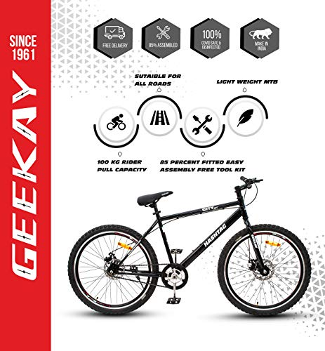 Geekay Hashtag 26 t Single Speed SteelMountain Bicycle 26 Inch wheel | Non gear cycle for adults | 18 Inch Frame Ideal for 5 feet to 5.6 feet height Road Mtb bike| No Mudguard No Bell No Water Bottle | 85 % Fitted Bike | Black
