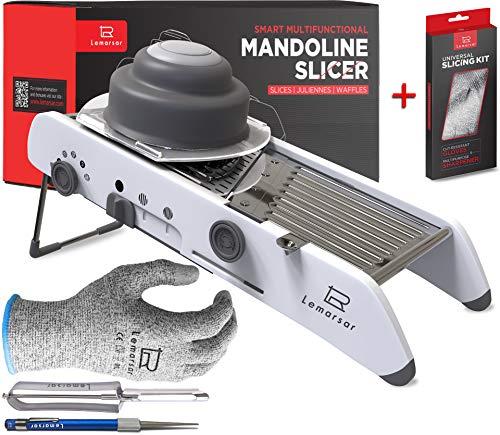 Ultra SHARP ADJUSTABLE MANDOLINE SLICER cutter chopper and grater 18 in 1 VEGETABLE slicer mandolin FRUIT slicer waffle FRY cutter PROFESSIONAL mandolin FOOD SLICER vs GLOVES, SHARPENER, PEELER 4 itm