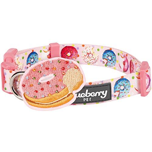 Blueberry Pet 2019 New Party Ideas Sweet Tooth Donut Designer Collar de perro en rosa bebé con decoración, pequeño, cuello 30 cm-40 cm, collares ajustables para perros