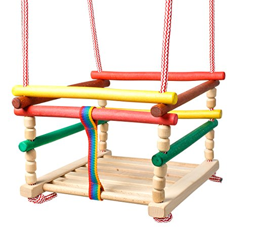 ISO TRADE Baby Holzschaukel Bunte Farben 26x26cm Bis 25kg Stabil Schön Langlebig Natürlich 6248