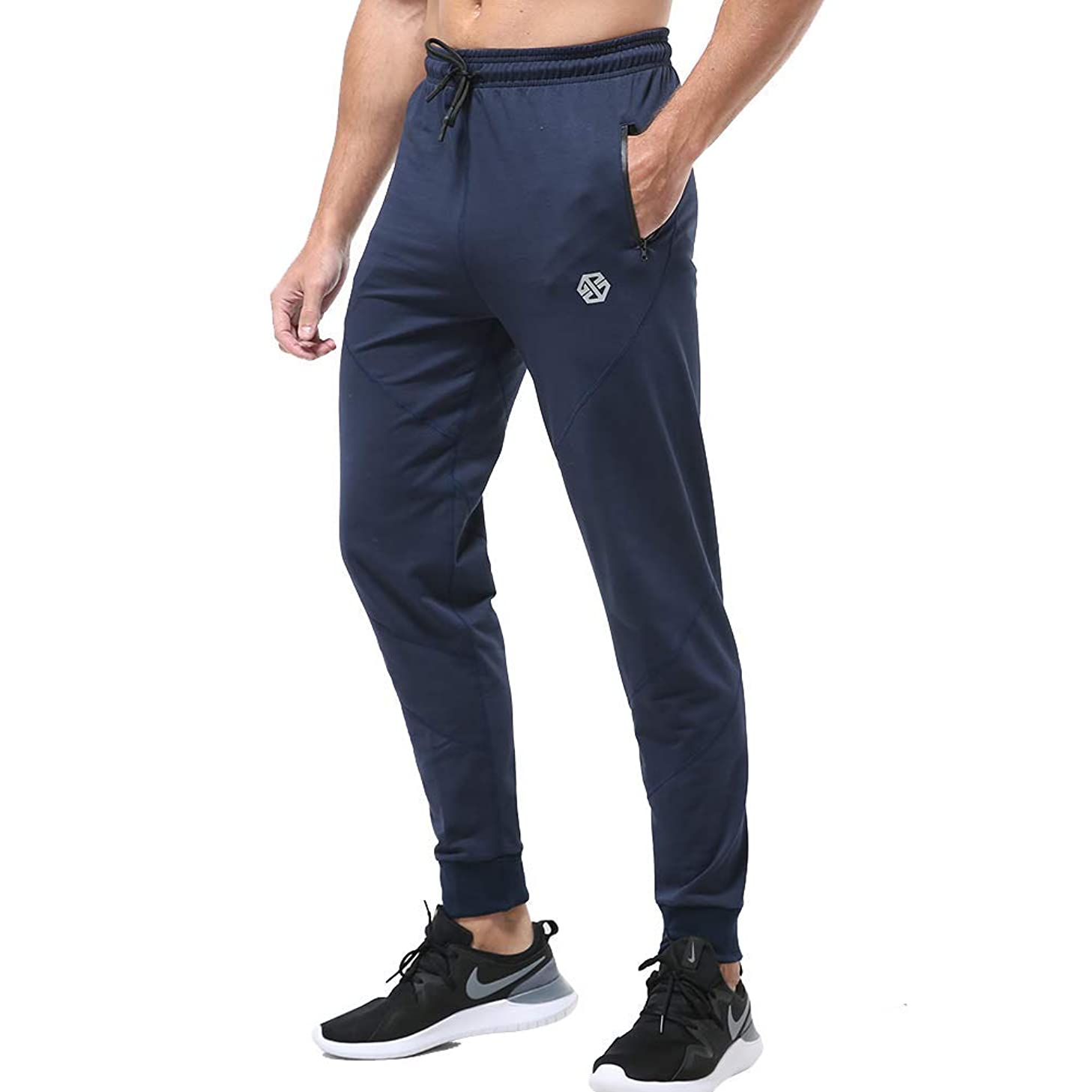 Gerlobal Men's Joggers Sweatpants Workout Running Gym Pants with Zipper Pockets